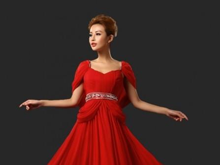 Váy cưới màu đỏ voan thướt tha, sang trọng