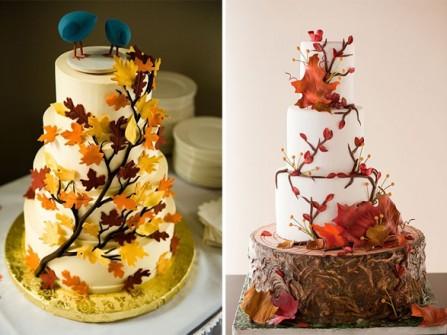 Bánh cưới trắng với họa tiết lá mùa thu lãng mạn
