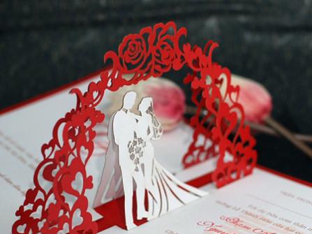 Thiệp cưới nổi pop up độc đáo
