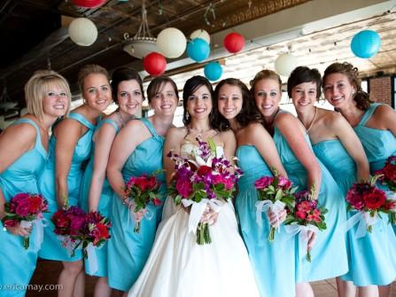 Váy phụ dâu ngắn màu xanh tiffany