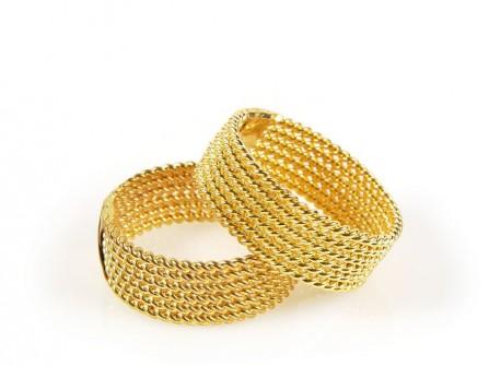 Nhẫn cưới vàng bện dây thừng đơn giản