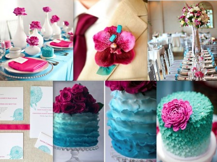 Theme cưới màu hồng và màu lam ngọc ngọt ngào