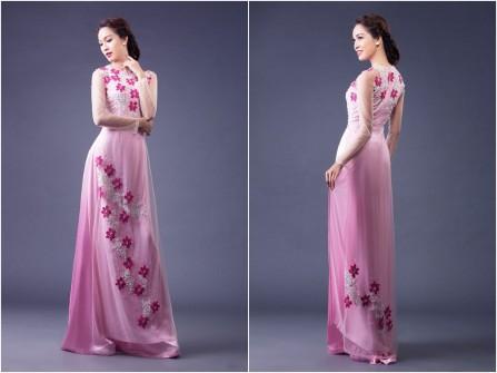 Áo dài cưới voan màu hồng phấn kết hoa nổi