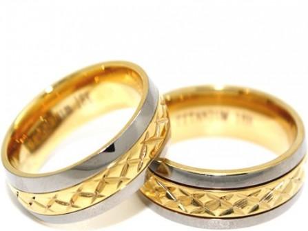 Nhẫn cưới vàng kết hợp vàng trắng khắc họa tiết