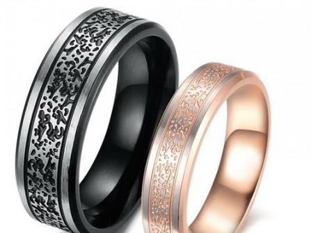 Nhẫn cưới hợp kim cao cấp màu đen và hồng độc đáo