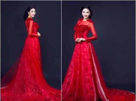 Áo dài cưới voan đuôi xòe màu đỏ kết hoa nổi