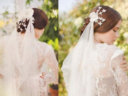 Tóc cưới búi trễ kết hợp lúp cưới voan