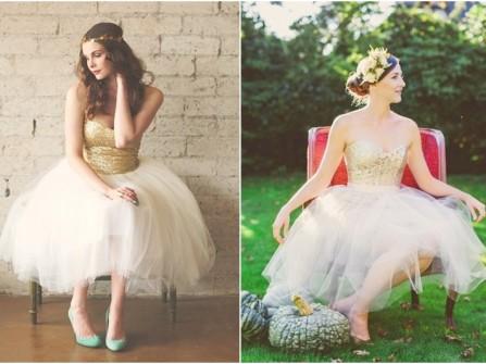 Váy cưới ngắn sequins kết hợp voan xòe