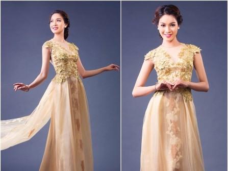 Áo dài cưới đẹp chất voan màu vàng đồng kết hoa ren