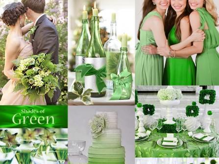 Theme cưới màu xanh lá cây ombre mát mắt