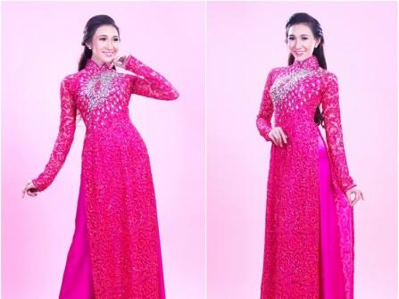 Áo dài cưới ren màu hồng cánh sen kết hạt đá