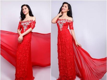Áo dài cưới ren đỏ vai ngang ngực đính hạt đá
