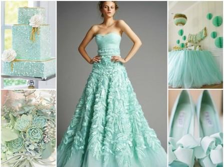 Váy cưới màu xanh bạc hà dáng xòe cúp ngực
