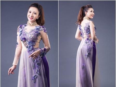 Áo dài cưới voan màu xanh kết hoa hồng nổi 3D