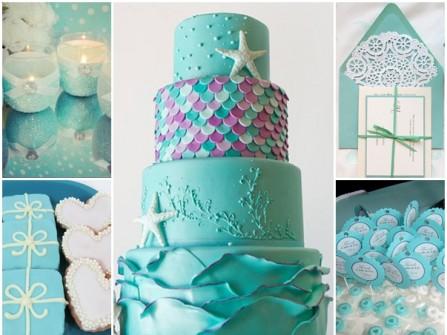 Bánh cưới 4 tầng phong cách đại dương xanh