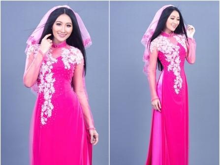 Áo dài cưới đẹp màu hồng cánh sen kết hoa trắng nổi 3D