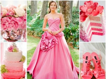 Váy cưới màu hồng cúp ngực xếp hoa hồng