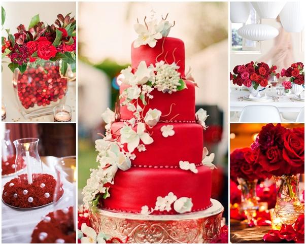 Bánh cưới màu đỏ kết hoa lan trắng thác đổ