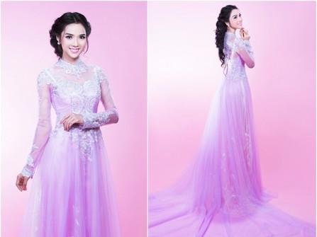 Áo dài cưới đẹp chất voan ánh tím kết ren trắng