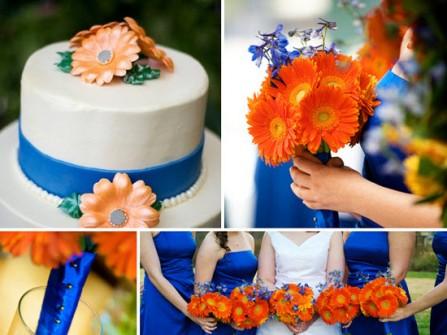 Theme cưới màu xanh hoàng gia và màu cam nổi bật