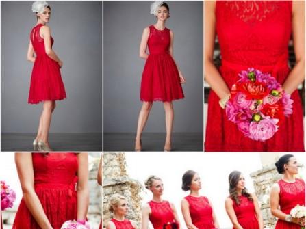 Váy phụ dâu ren dáng ngắn màu đỏ nổi bật