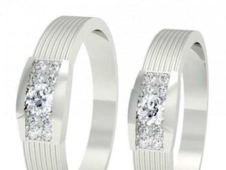Nhẫn cưới vàng trắng trẻ trung đính kim cương