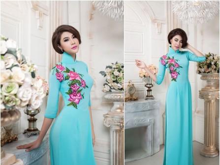 Áo dài cưới màu xanh họa tiết hoa hồng