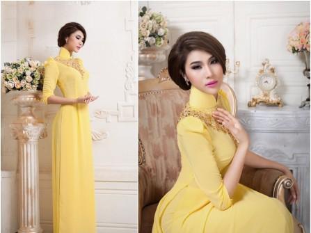 Áo dài cưới màu vàng tay phồng đính hạt đá