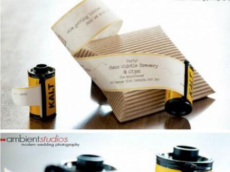 Thiệp cưới hiện đại trong cuộn phim máy ảnh