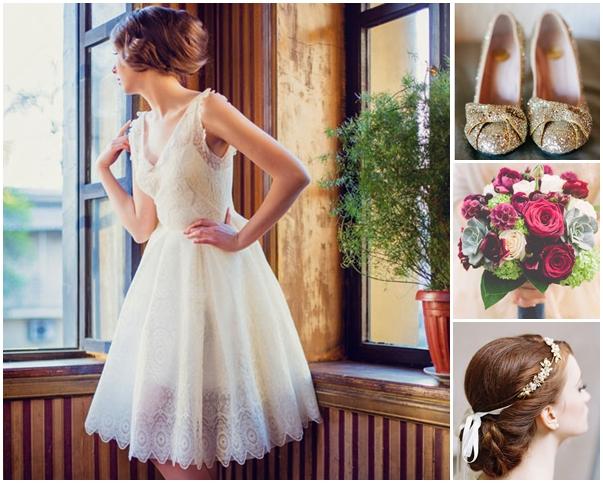 Váy cưới ren ngắn xòe xẻ ngực cổ điển