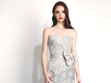Váy cưới ren cầu kỳ màu xám chân váy voan mềm