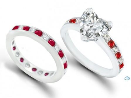 Nhẫn cưới vàng trắng đính đá ruby sang trọng