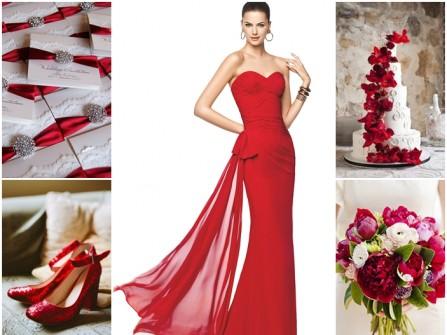 Váy cưới voan đuôi cá cúp ngực màu đỏ rực rỡ