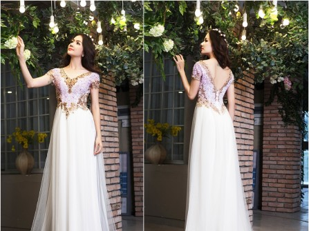 Áo dài cưới màu trắng cổ tim đính đá vàng đồng