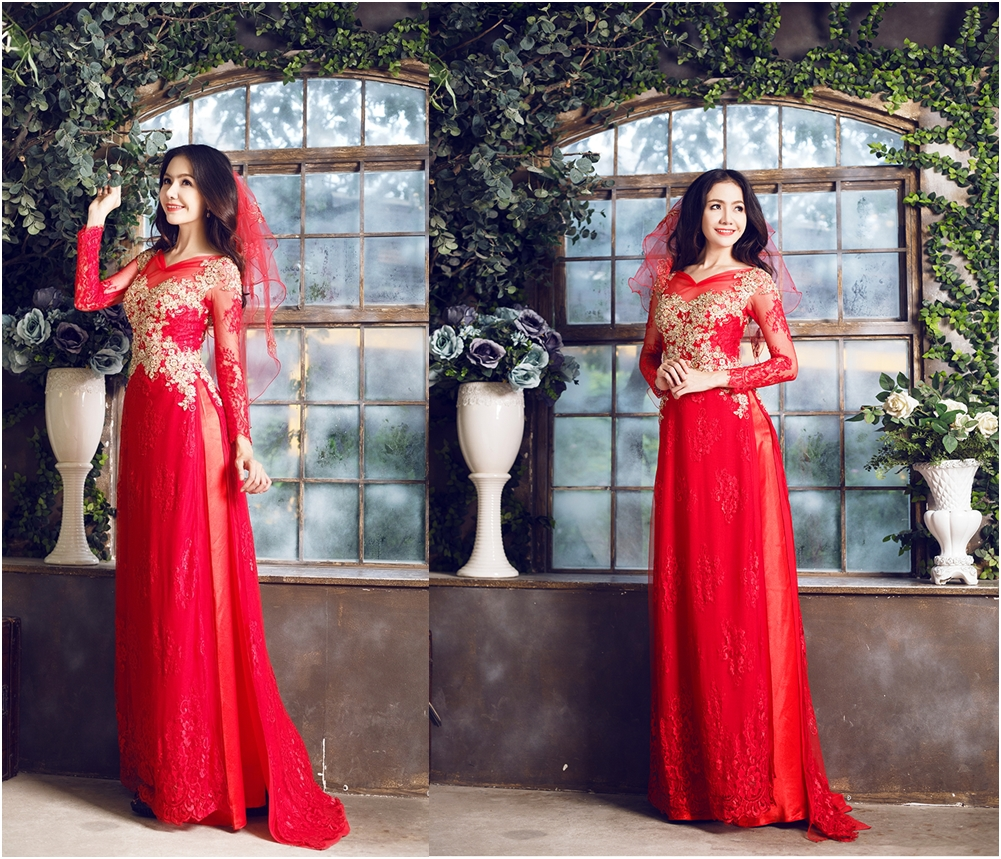 Áo dài cưới voan màu đỏ thêu hoa vàng