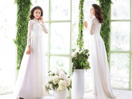 Áo dài cưới voan trắng kết ren hoa tinh tế