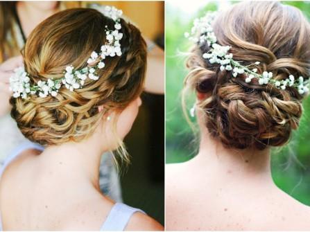 Tóc cưới thắt bím búi thấp vòng hoa bi trắng