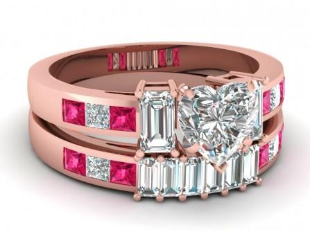 Nhẫn cưới vàng hồng đính đá cầu kỳ