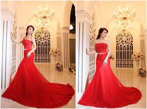 Váy cưới ren đuôi cá phối voan màu đỏ nổi bật
