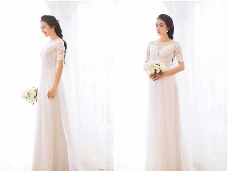 Áo dài cưới ren trắng tay lửng phối voan mềm mại