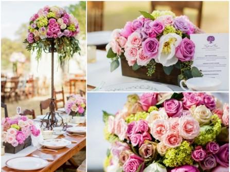 Hoa trang trí đám cưới màu hồng tím kết từ hoa hồng