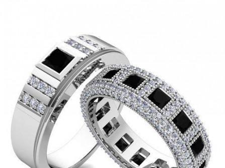 Nhẫn cưới vàng trắng đính thạch anh đen và kim cương
