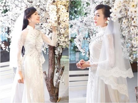 Áo dài cưới đẹp màu trắng chất ren đính kim sa