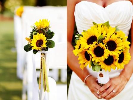 Hoa cưới cầm tay kết từ hoa hướng dương