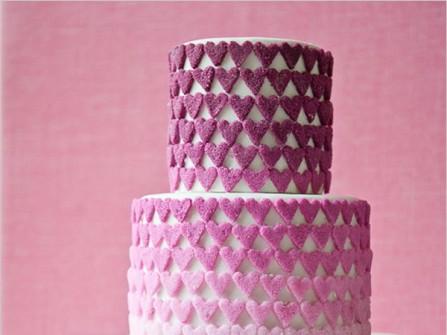 Bánh cưới đẹp 3 tầng màu tím ombré