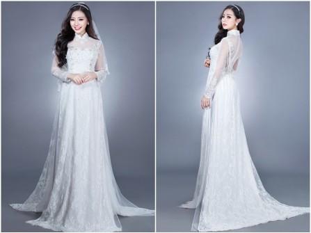 Áo dài cưới đẹp màu trắng chất ren sang trọng