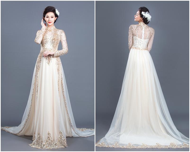 Áo dài cưới đẹp cách tân đính kim sa ánh vàng đồng