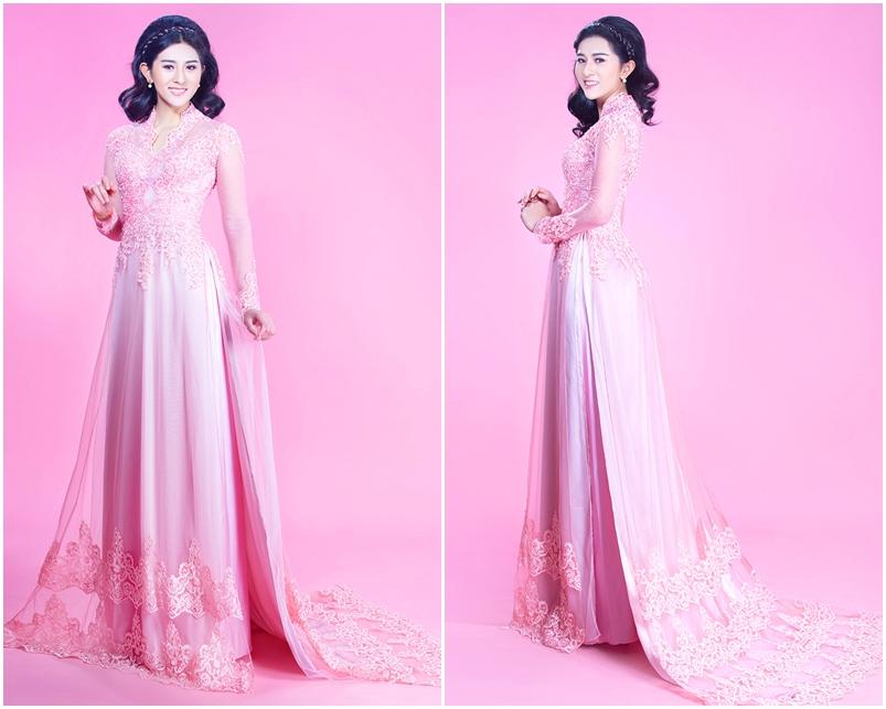 Áo dài cưới đẹp màu hồng phấn chất voan phối ren sang trọng
