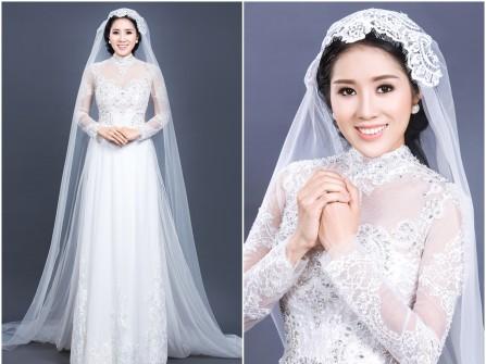 Áo dài cưới đẹp màu trắng chất voan thêu ren cầu kỳ