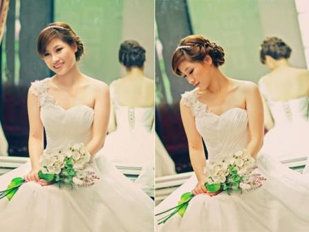 Váy cưới đẹp màu trắng lệch vai đính hoa sang trọng